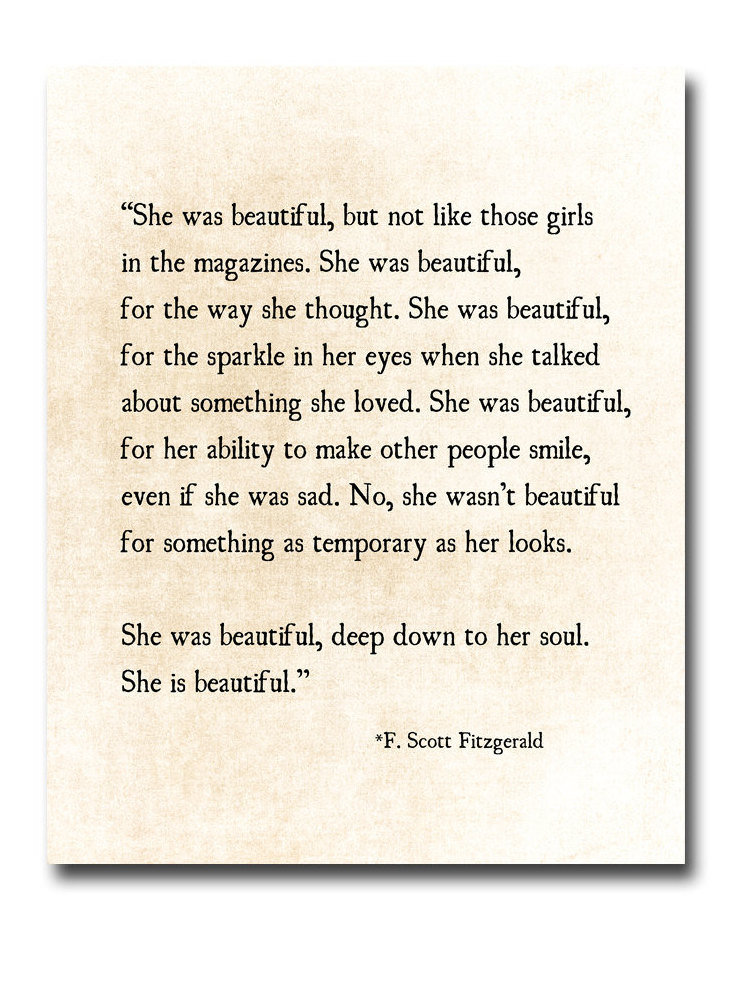 F Scott Fitzgerald Love Quotes Classy F Scott Fitzgerald Quote Print She Was Beautiful Fitzgerald Etsy