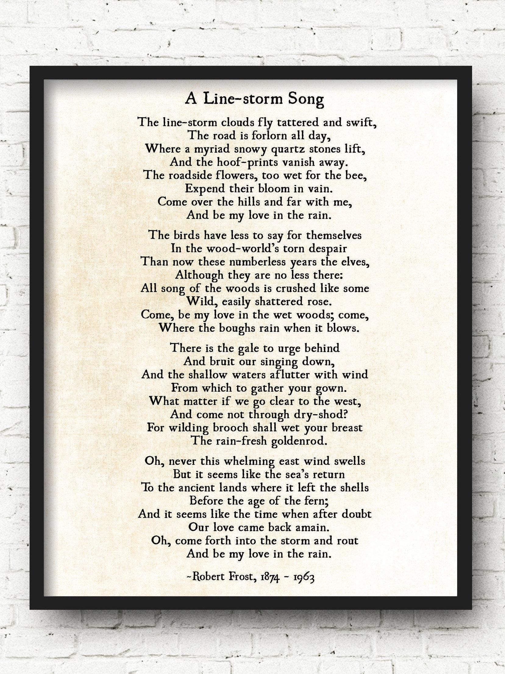 Robert Frost-Druck eine Linie Storm Song werden meine | Etsy