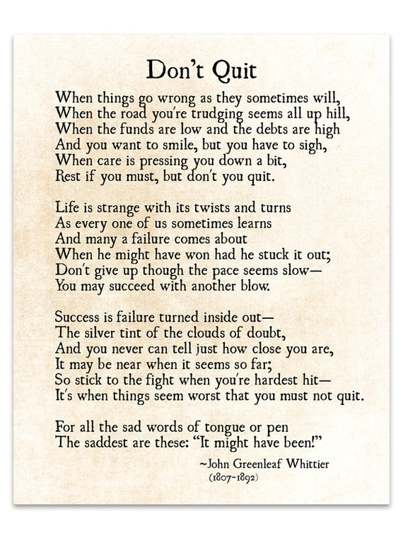 Dont Quit Poem John Greenleaf Whittier Quote Graduation Etsy