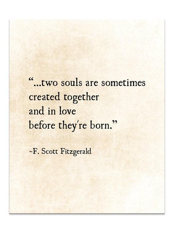 F. Scott Fitzgerald Quote, Two Souls, Love Romantic Quote, Wedding Gift  Idea, Anniversary Print Literary, Fine Art Print, Unframed