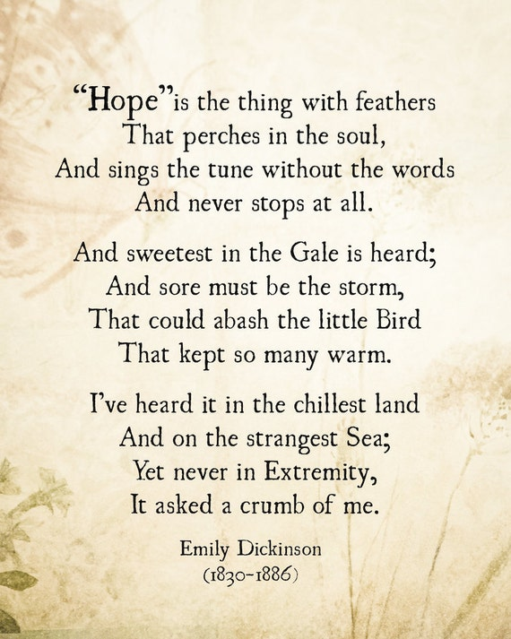 Emily Dickinson Hope Is The Thing With Feathers Poem Emily Dickinson Literary Quote Art Print Poetry Art Inspirational Quote Unframed
