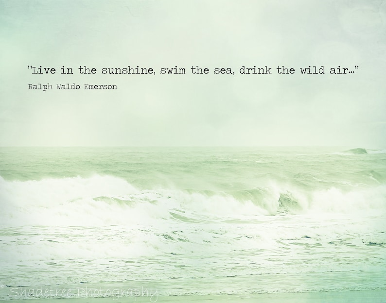 Beach Quote Ocean Photography Ralph Waldo Emerson Mint Green Etsy