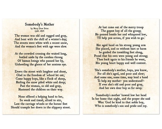 Somebodys Mother Poem Mary Dow Brine Print Gift For Mom Etsy