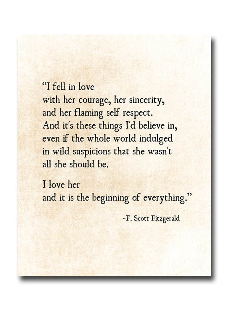 I Fell In Love Quote F Scott Fitzgerald Quote Literary Art Etsy