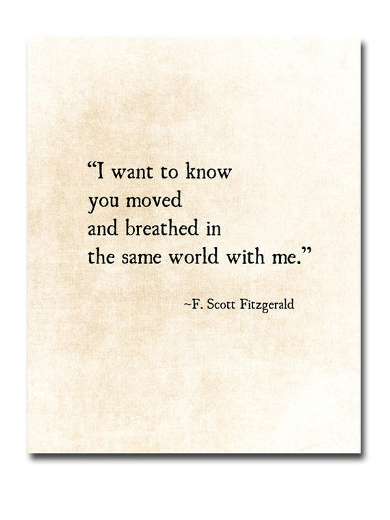 F. Scott Fitzgerald Quote, Romantic Wall Art, Literary Art Print, I love  Her Quote, Anniversary Gift, Literary Wall Art, Unframed
