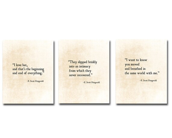 F Scott Fitzgerald Love Quotes Adorable F Scott Fitzgerald Love Quotes Romantic Quote Literacy Etsy