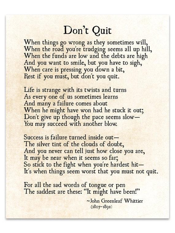 Dont Quit Poem John Greenleaf Whittier Quote Graduation Etsy