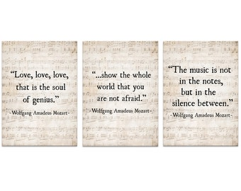 Music Quote, Wolfgang Amadeus Mozart Quote, Set of Three Music Quotes, Music Art Print, Literary Quote, Large Wall Art, Word Art Print