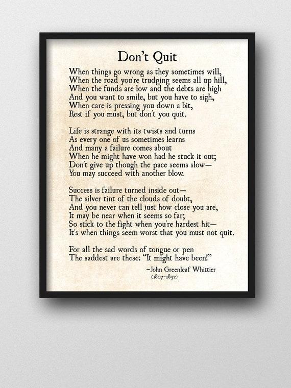 Don T Quit Poem John Greenleaf Whittier Quote Graduation