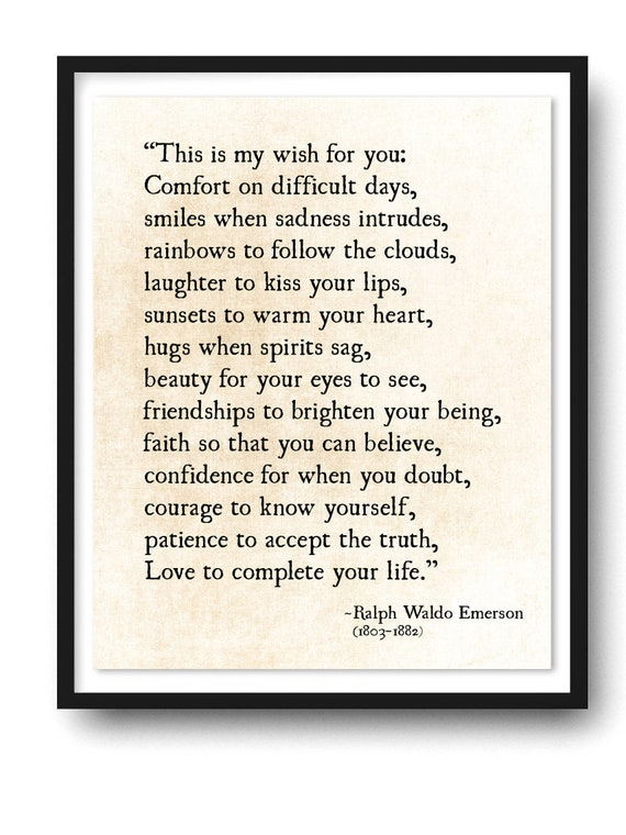 Ralph Waldo Emerson Quote Print My Wish For You Grad Etsy