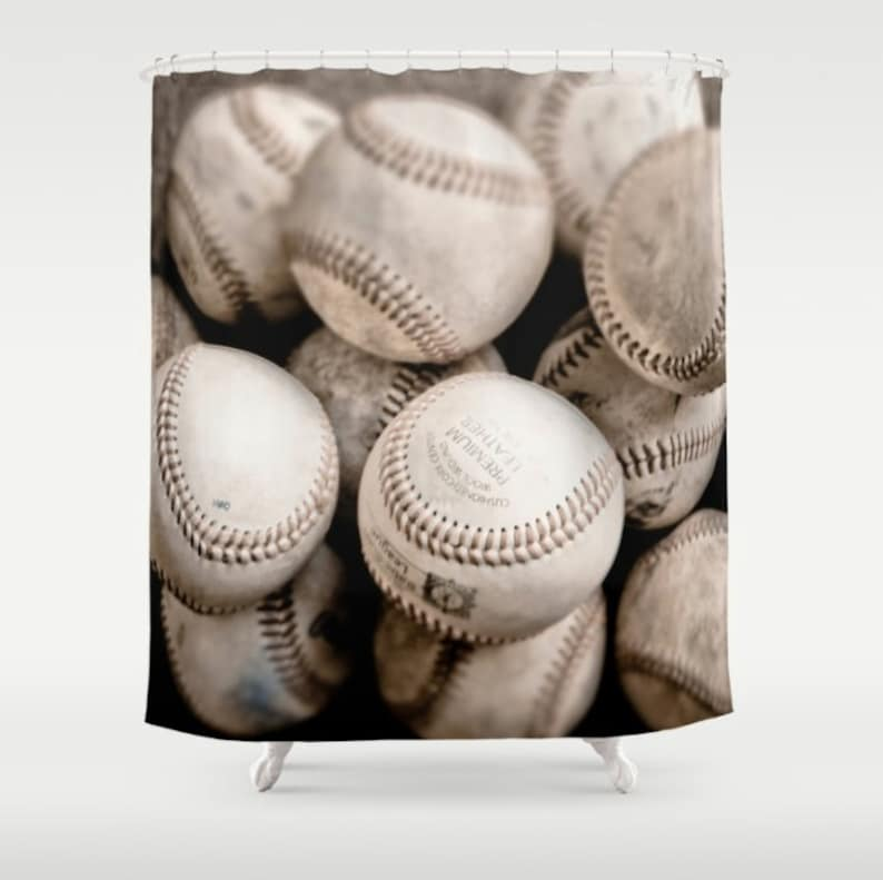 Shower Curtain Baseball Sports