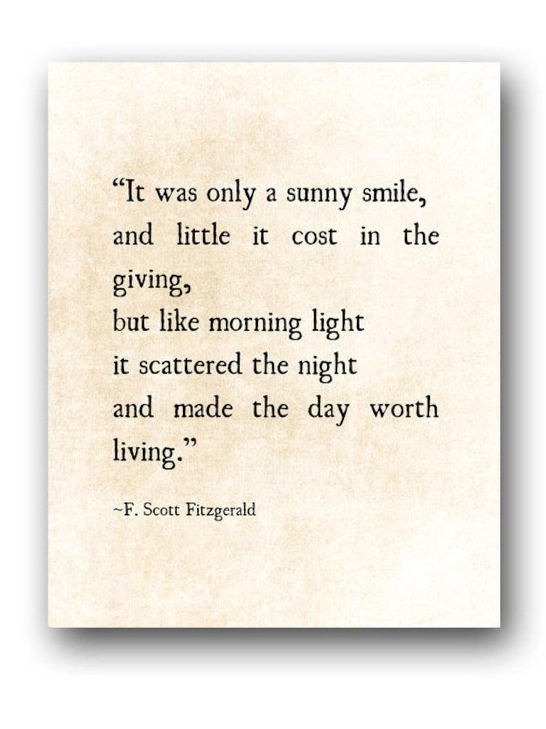 Sunny Smile F Scott Fitzgerald Quote Literary Art Print Etsy