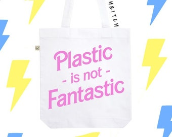 351129c82a9673 Plastic is not Fantastic Tote Bag   Cruelty Free Bag   Vegan