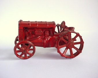 Cast Iron Red Tractor - Primitive Toy - Vintage