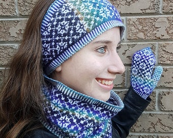 """Knitting pattern set: Earband, cowl, and mittens (""""Fouilloy""""), adult sizes (PDF)"""