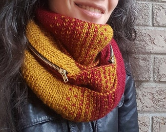 """Knitting pattern: Reversible infinity scarf or cowl (""""Thanks, It Has Pockets!"""") (PDF)"""