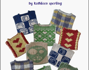 """Knitting patterns book: Reversible baby bibs (""""Flip for the Next Feed"""") (PDF)"""