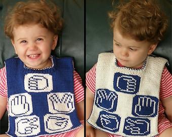 "Knitting pattern: Reversible baby bib (""Rock, Paper, Scissors, Lizard, Spock"") (PDF)"