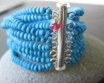 8 Strand Faience Cuff Bracelet