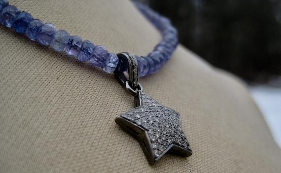 CELESTIAL STAR     Single Strand Tanzanite Necklace with a Dazzling Diamond Star Pendant