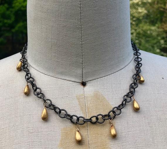 BELLA  18K Gold Teardrop Charms Necklace