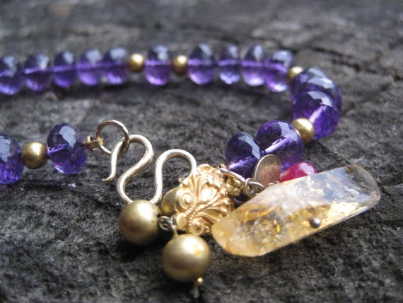 ADRIKA    Faceted Amethyst Gemstones, 18k Gold, Ruby & Citrine Necklace