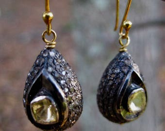 EMBER  Pave Diamond & Yellow Diamond Slices Teardrop Earrings
