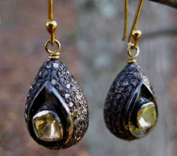 EMBER  Pave Diamond & Yellow Diamond Slices Teardrop Earrings