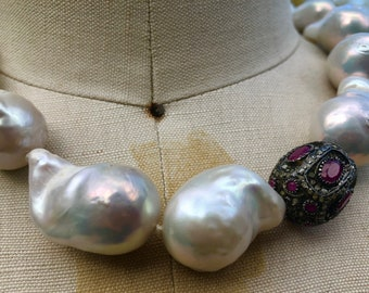 THALIA  Baroque Pearl + Ruby + Diamond Bead Necklace
