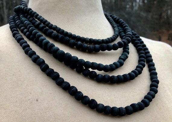 OLIVIA  Multi Strand Black Olivewood Necklace