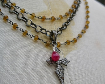 VIGILIA     Triple Strand Oxidized Sterling SIlver & Citrine Rosary Chain with Gothic Pave Diamond Cross Necklace