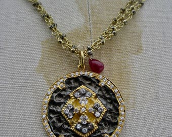 GABRIELIA    Triple Strand Wire Wrapped 18k Vermeil & Pyrite with Ornate White Topaz Pendant