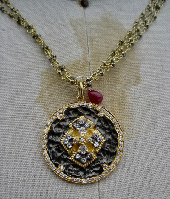 GABRIELIA    Triple Strand Wire Wrapped 18k Vermeil & Pyrite with Ornate White Topaz Pendant