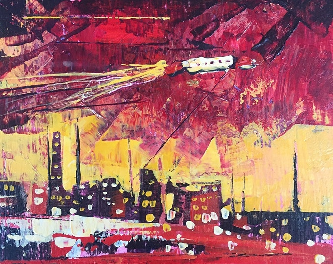 4x4 Painting Red Orange Sci Fi Art Surreal art Weird stuff Psychedelic Painting Spaceship Art College Art Red City Whimsical Art