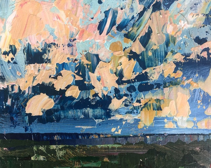 3x3 Textured Acrylic Painting Blue and Peach Sky Abstract Landscape on Wood Panel Miniature Painting Affordable Art Modern Art Home decor