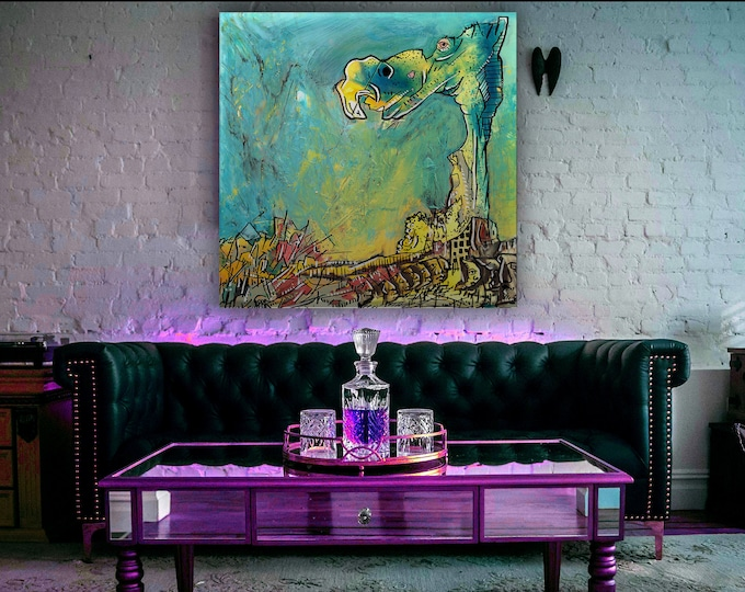 Aquatic Trippy Art College Art Creatures Faces Surrealism Painting Reprint Large Abstract Weird Pareidolia Blue and Yellow Big Canvas Art