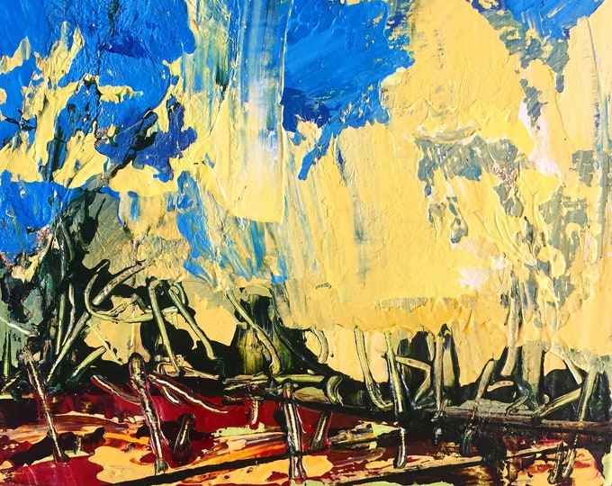 Blue and Yellow Textured Painting Contemporary Art Abstract Landscape Palette Knife Expressive Art Miniature painting 3x3 Painting Small Art