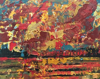 3x3 Abstract Small Landscape on Wood Burnt Orange and Red Sunset Affordable Miniature Painting Expressive Abstract Sky Textured Small Art