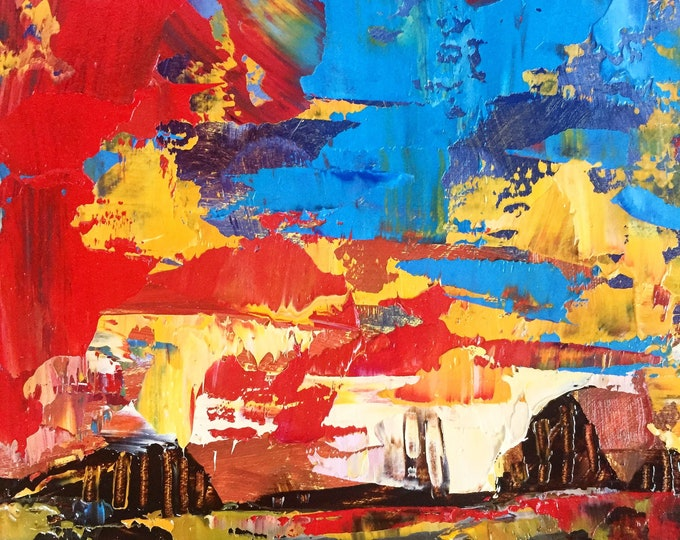 4x4 Painting Expressive Sunset Blue Orange Red Abstract Landscape Home Decor Small Painting Sunset Small miniature painting texture Original