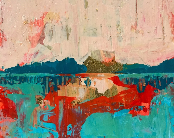 3x3 Contemporary Abstract Landscape Original Small Painting Peach Turquoise Red Gold Leaf Modern Textured Square Painting on Wood Home Decor