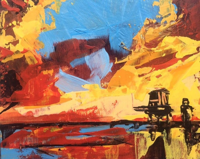 4x4 Painting Red Blue Yellow Abstract Landscape Sunset Abstract Painting Original Art Miniature Beach Art Affordable Small Orange Beach Art