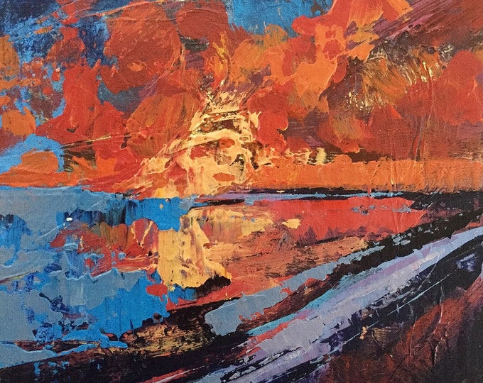 Red and Yellow Abstract Landscape Sunset Abstract 3x3 Acrylic Painting Original Art Miniature Painting Affordable Small Ocean Sunset