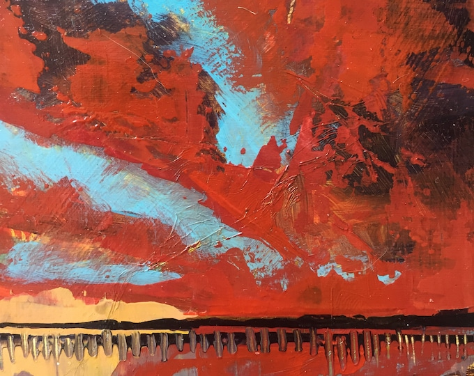 4x4 Sunset Beach Painting red blue Yellow Abstract Sunset Home Decor Small Painting Ocean art Small miniature painting texture sky original