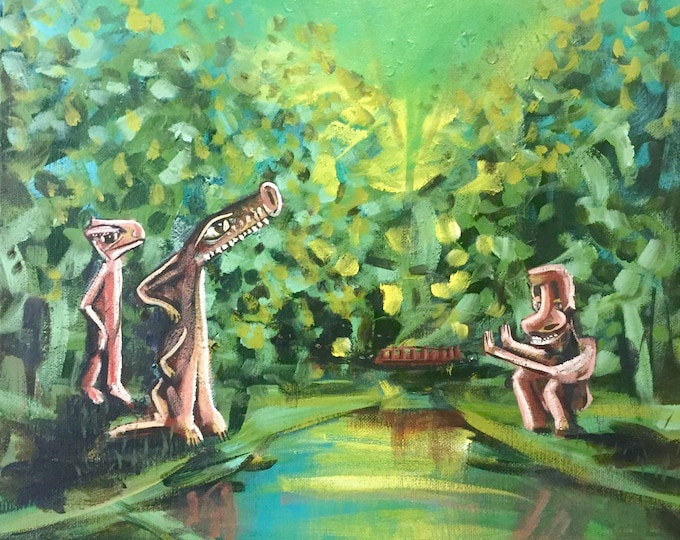 Surreal Contemporary Painting Creatures in Forest Weird Childrens Art Original Painting College Art Trippy Forest 16x20 Original Painting