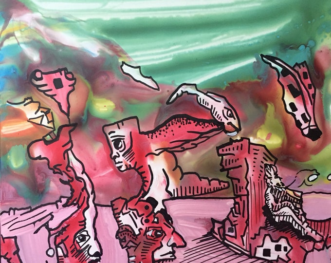 "6""x6"" Pareidolia Illustration on Yupo"