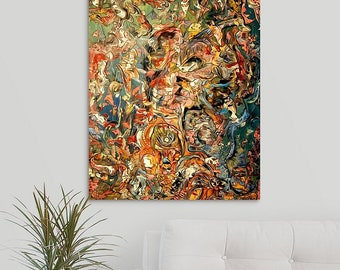 Aquatic Trippy Art College Art Creatures Faces Surrealism Painting Reprint Large Abstract Weird Art Fish Faces Good vs. Evil Pareidolia