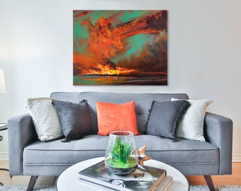 Abstract Landscape Giclee Reprint Dramatic Sunset Red Sky Fire sky Turquoise and Red Sky William Turner Contemporary Landscape