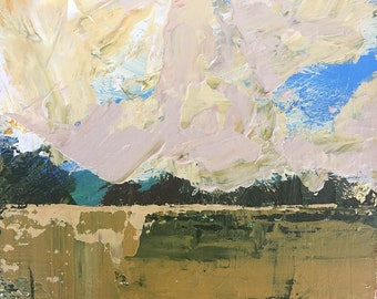 "3""x 3"" Abstract Landscape on Wood Panel 28"