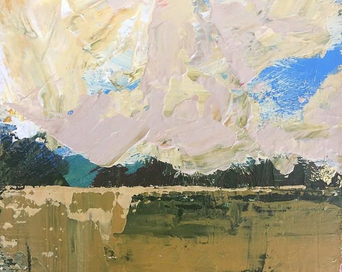 """3""""x 3"""" Abstract Landscape on Wood Panel 28"""