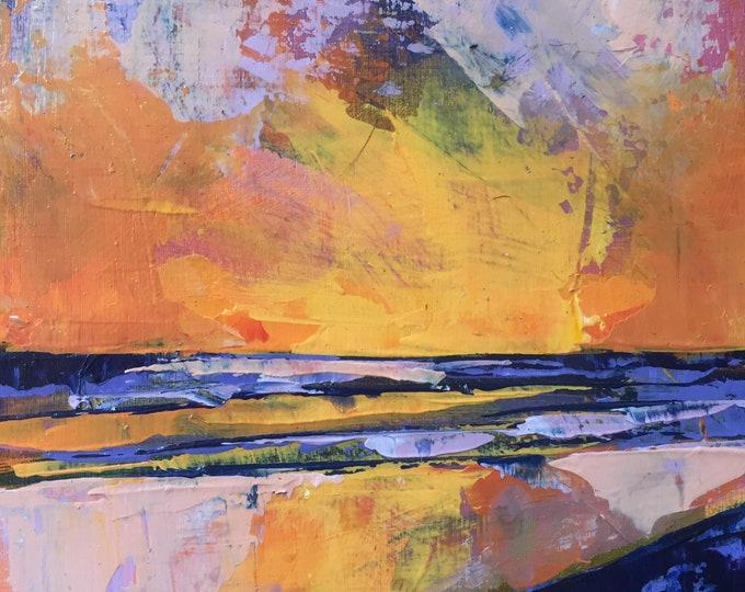 4x4 Sunset Beach Painting Lavender Orange Yellow Abstract Sunset Home Decor Small Painting Ocean art Small miniature painting texture sky